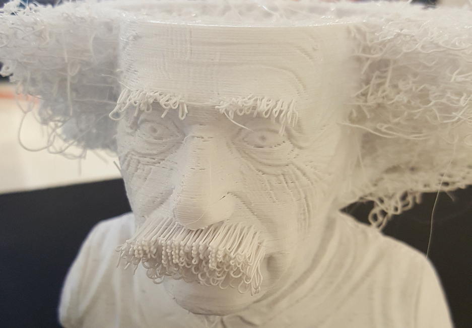 "Sneak preview of Print That Thing's upcoming ""Hairy Einstein"" 3D print. Photo by Jwall"