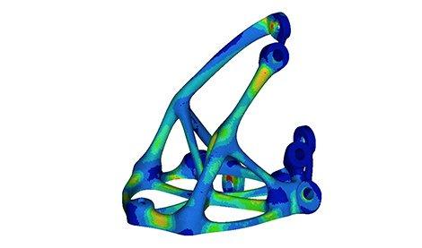 Inspection of a 3D designed metal bracket. Image via Morf3D.