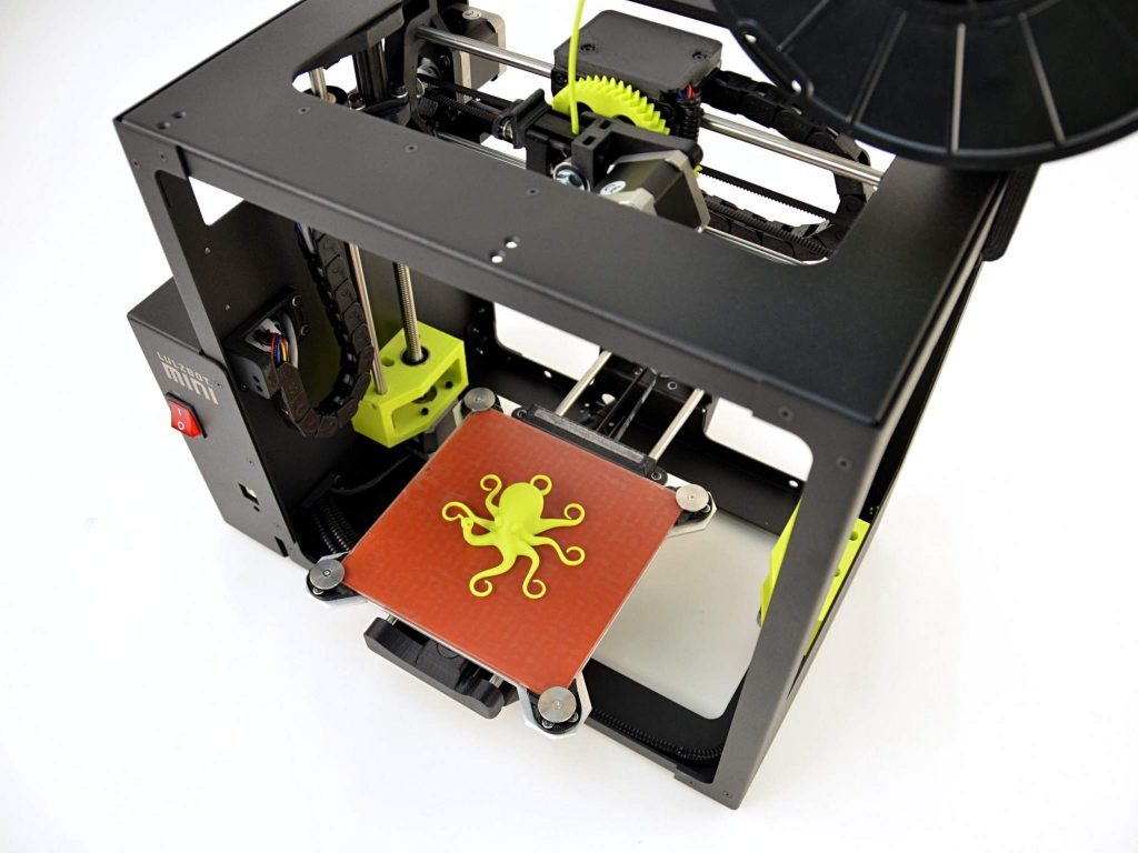 Lulzbot Mini 3D printer and the company's mascot Rocktopus Photo via Lulzbot