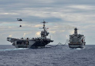 US Naval vessels at sea. Photo via the US Naval Research Laboratory on Facebook