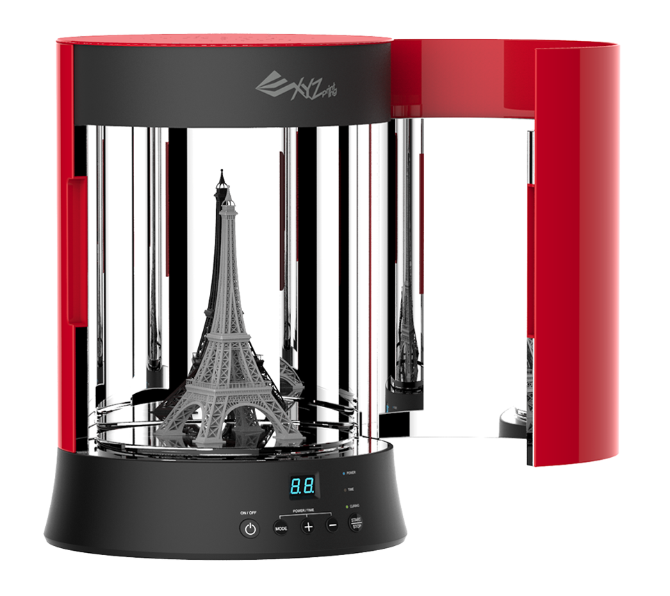 An SLA 3D printed Eiffel Tower cured inside the XYZ Printing UV Curing System