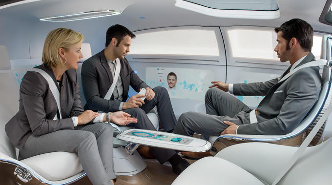 Inside the Mercedes-Benz F 015. Image via Mercedes-Benz
