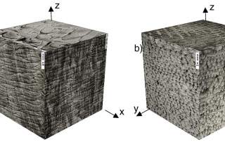 "Fig.2 ""3D cube representing front (XZ), side (YZ) and top (XY) microstructure of a) 950 W and b) 250 W processed parts (cube size 2 mm 3 )."""