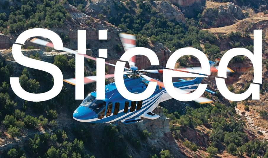 Sliced logo over a Bell 525 Relentless model. Photo via Bell Helicopter on Facebook