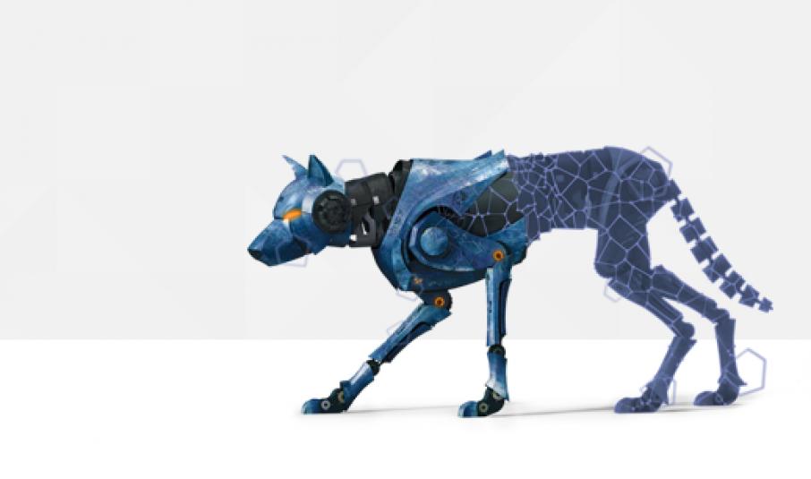 A robot dog model and mesh. Image via MakePrintable