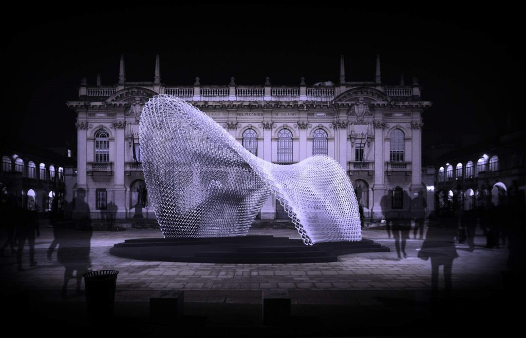 The Trabeculae Pavilion 3D printed by ACTLAB in collaboration with Filoalfa. Photo via ACTLAB
