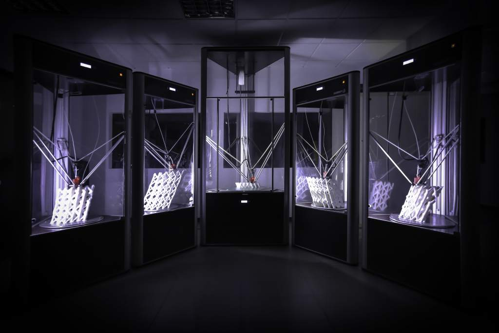DeltaWASP farm of large-scale 3D printers, making the Trabeculae Pavilion