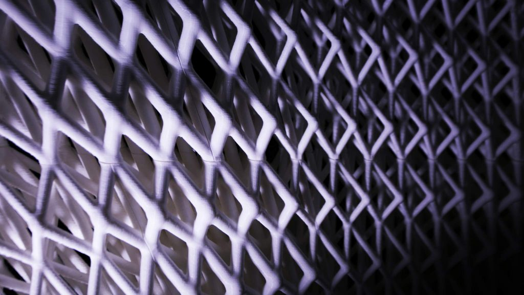 Detail of the Trabeculae Pavilion's 3D printed architecture. Photo via ACTLAB