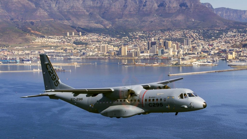 An Airbus C295 with Table Bay, Cape Town in the distance. Photo via Airbus.