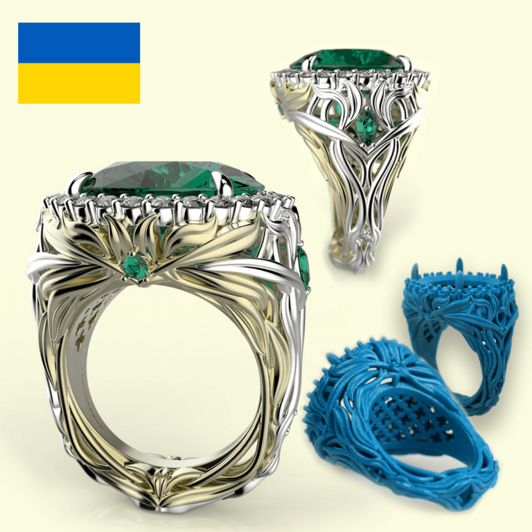 "Solidscape 3D printed ""Drop of Freedom"" ring design by Anna Popovych. Image via Solidscape."