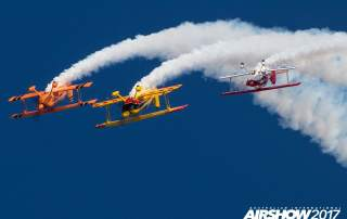 Planes performing a loop the loop Australian International Airshow 2017, where Deakin University present the 3D printed BNNT/Titanium. Photo via AustralianInternationalAirshow on Facebook