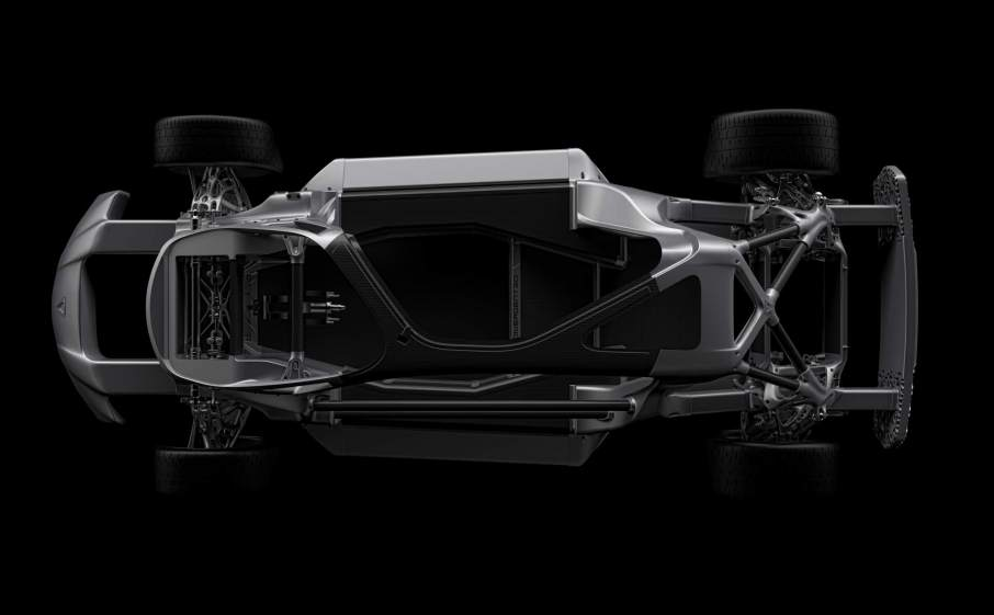 The 3D printed chassis of the Divergent Blade supercar. Image via Business Wire.