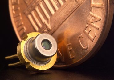 A diode laser with cent for scale. Photo from the NASA Jet Propulsion Laboratory (JPL)