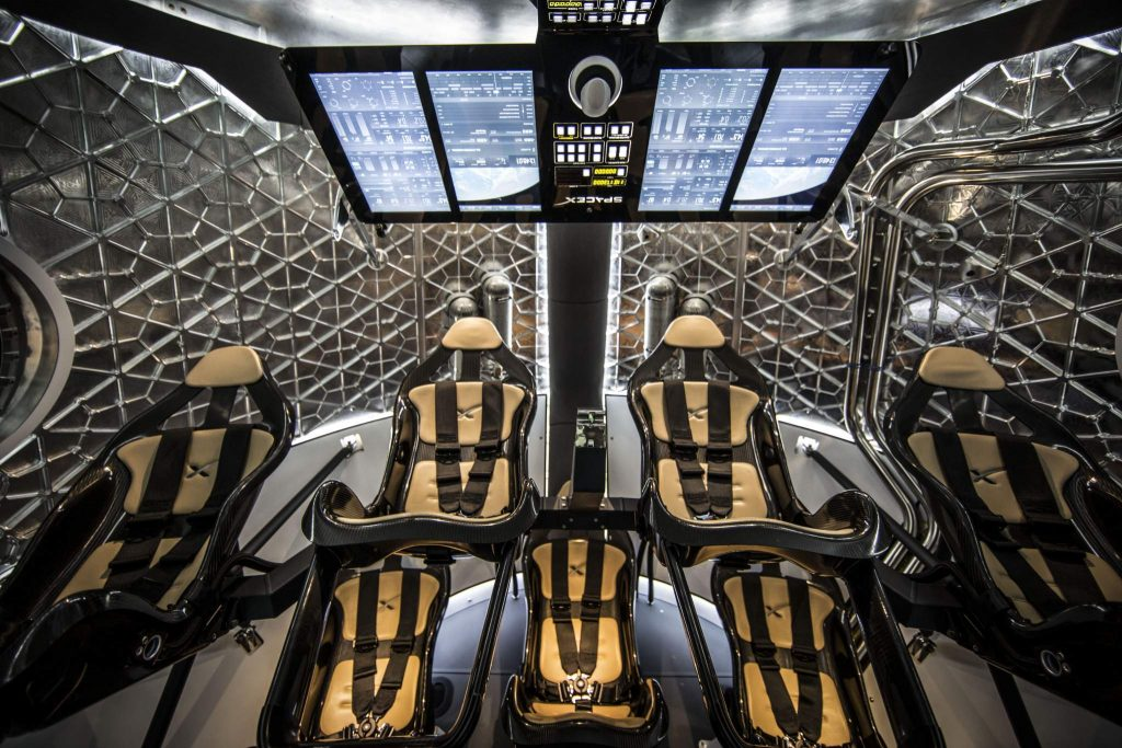 Inside the Crew Dragon V2. Photo via SpaceX