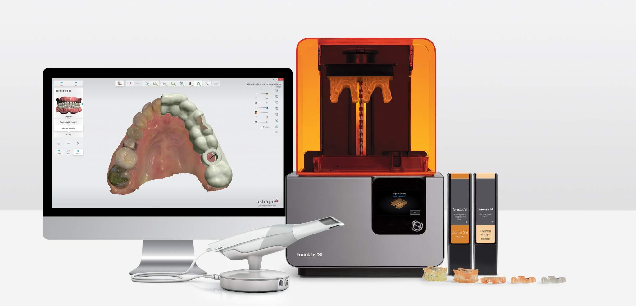 The Form 2 with 3Shape scanner and new resins. Image via Formlabs.