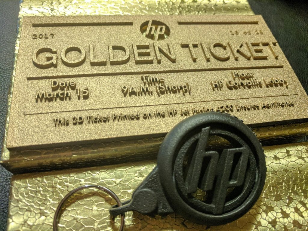 HP Golden Ticket printed on MJF. Photo by Michael Petch