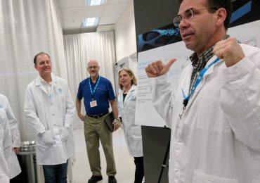 HP's David Erickson briefs visitors before entering the HP Open Materials Development Lab. Photo by Michael Petch.