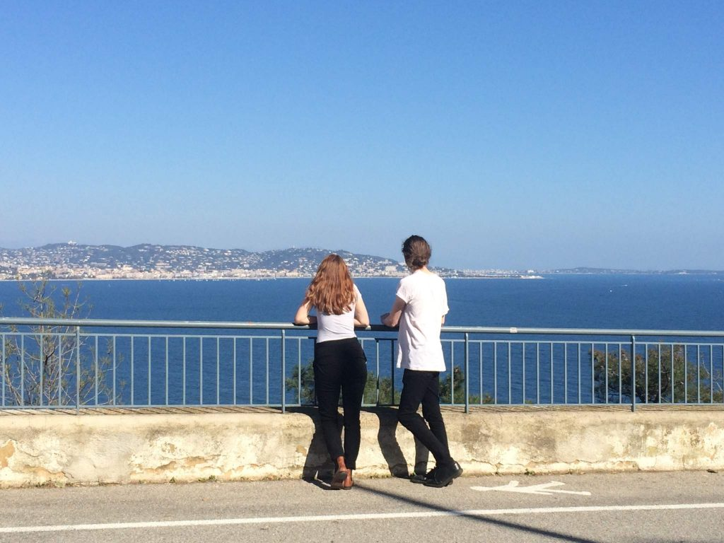 Talking with Jonathan overlooking the Côte d'Azur in France.
