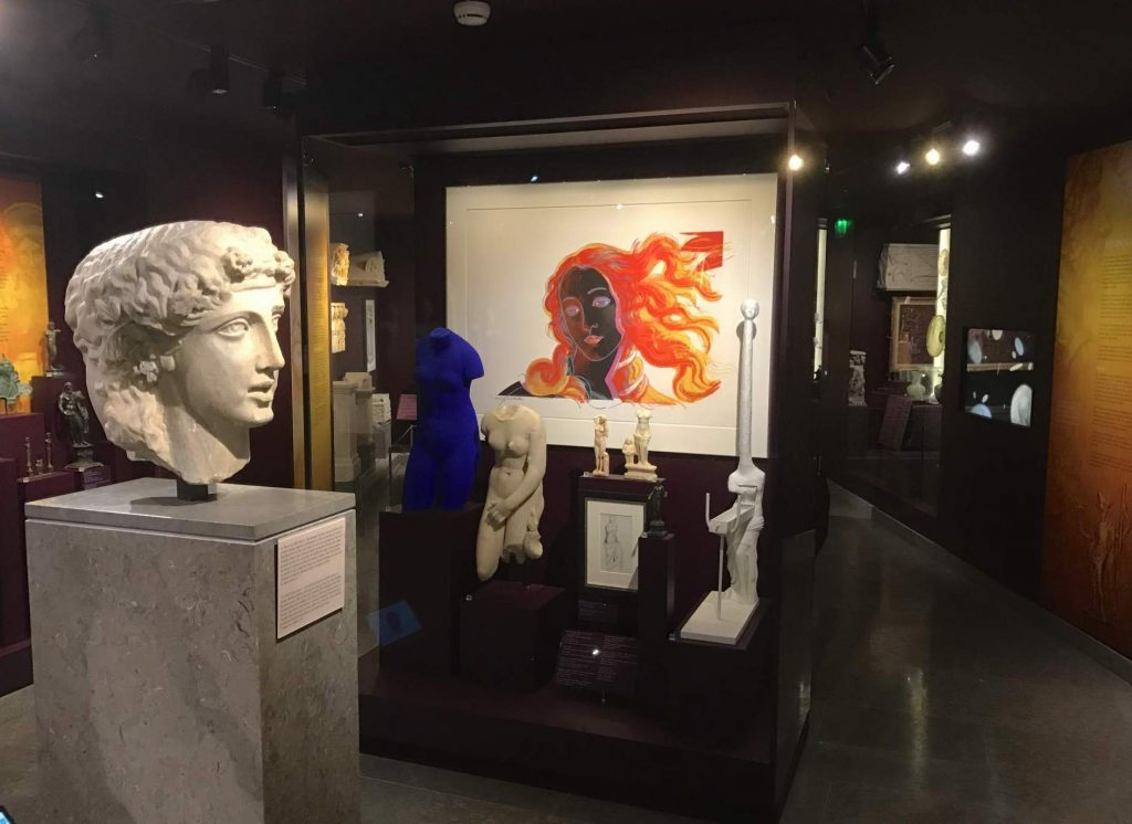 The Venus cabinet in the Mougins Museum of Classical Art featuring works by Andy Warhol, Yves Klein, Salvador Dali and Cézanne. Photo by Jonathan Beck