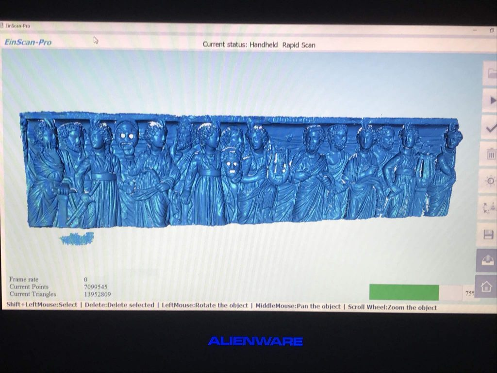 Point cloud scan of the relief panel.