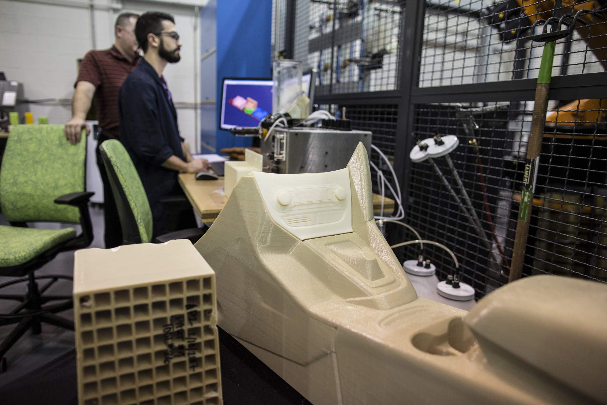 The centre console of a car 3D printed by the Infinite Build. Photo via Ford.