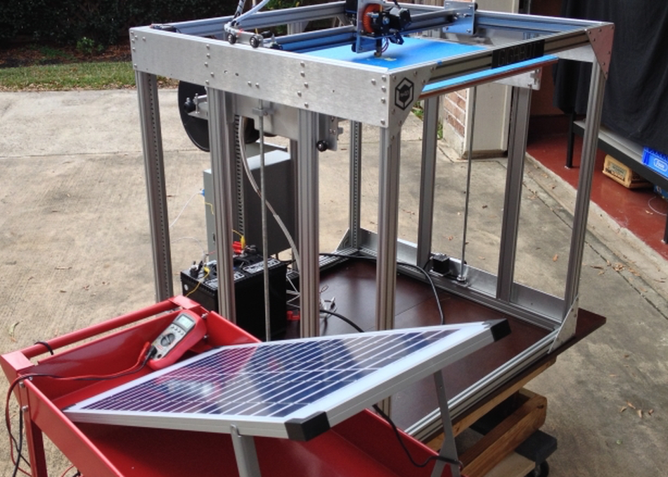 The Gigabot from re3D with a solar power source. Photo via SXSW.