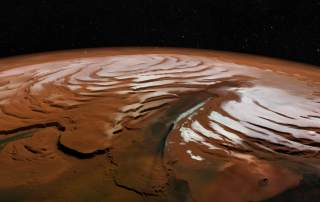 Perspective view of Chasma Boreale on the surface of Mars. Image via ESA/DLR/FU Berlin, CC BY-SA 3.0 IGO