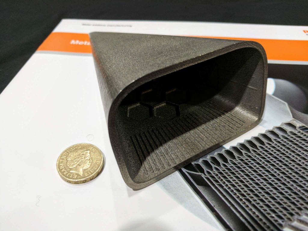 Renishaw 3D printed nose cone for Bloodhound SSC. Photo by Michael Petch.