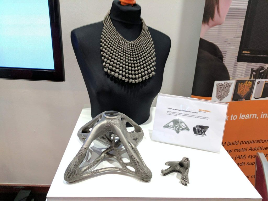 Renishaw metal 3D prints and Carrie Dickens jewelry. Photo by Michael Petch.