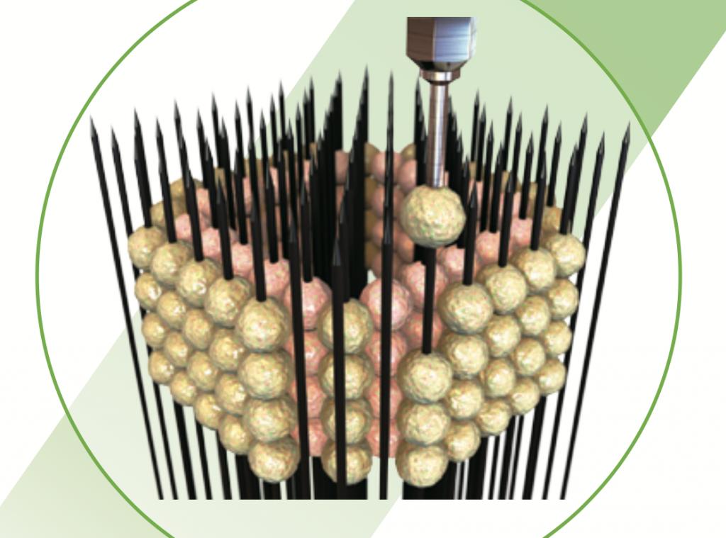 Graphic representation of the Kenzan method. Image via Cyfuse Biomedical K.K.