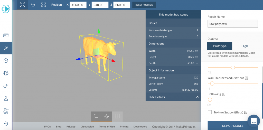 Assessment of a simple low poly cow 3D model in MakePrintable.