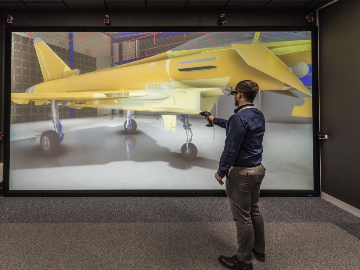 The VR design cave at the NPPDC. Photo via BAE Systems.