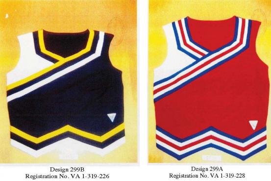 The uniform designs in question. Image via Star Athletica's petition for certification