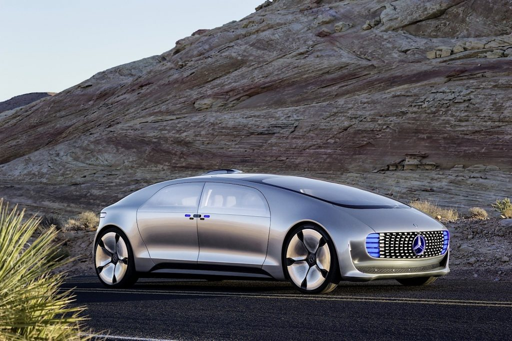 The autonomous Mercedes-Benz F 015. Image via Mercedes-Benz
