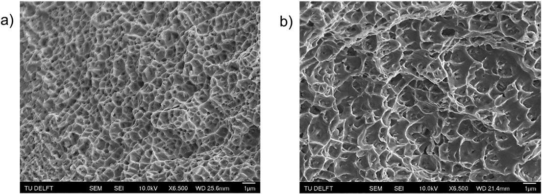 "Figure 12 shows the ""SEM images of tensile fracture surface for Inconel 718 samples built with a) the 250 W and b) the 950 W laser source."" Image via Materials & Design."