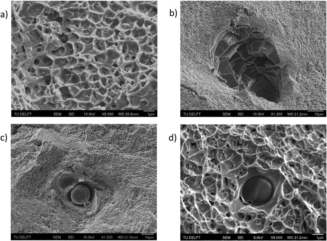 """Fig. 13. SEM images of tensile fracture surface for graded Inconel 718 (fractured in coarse-grained, 950 W, zone), featuring a) Dimple rupture network and sub-micron carbides and Laves phase at dimple nucleation points b) Large pore revealing brittle rod-like intergranular fracture of dendrites c) un-melted Inconel powder particle and a pore d) partially melted aluminium oxide particle."" Image via Materials & Design."