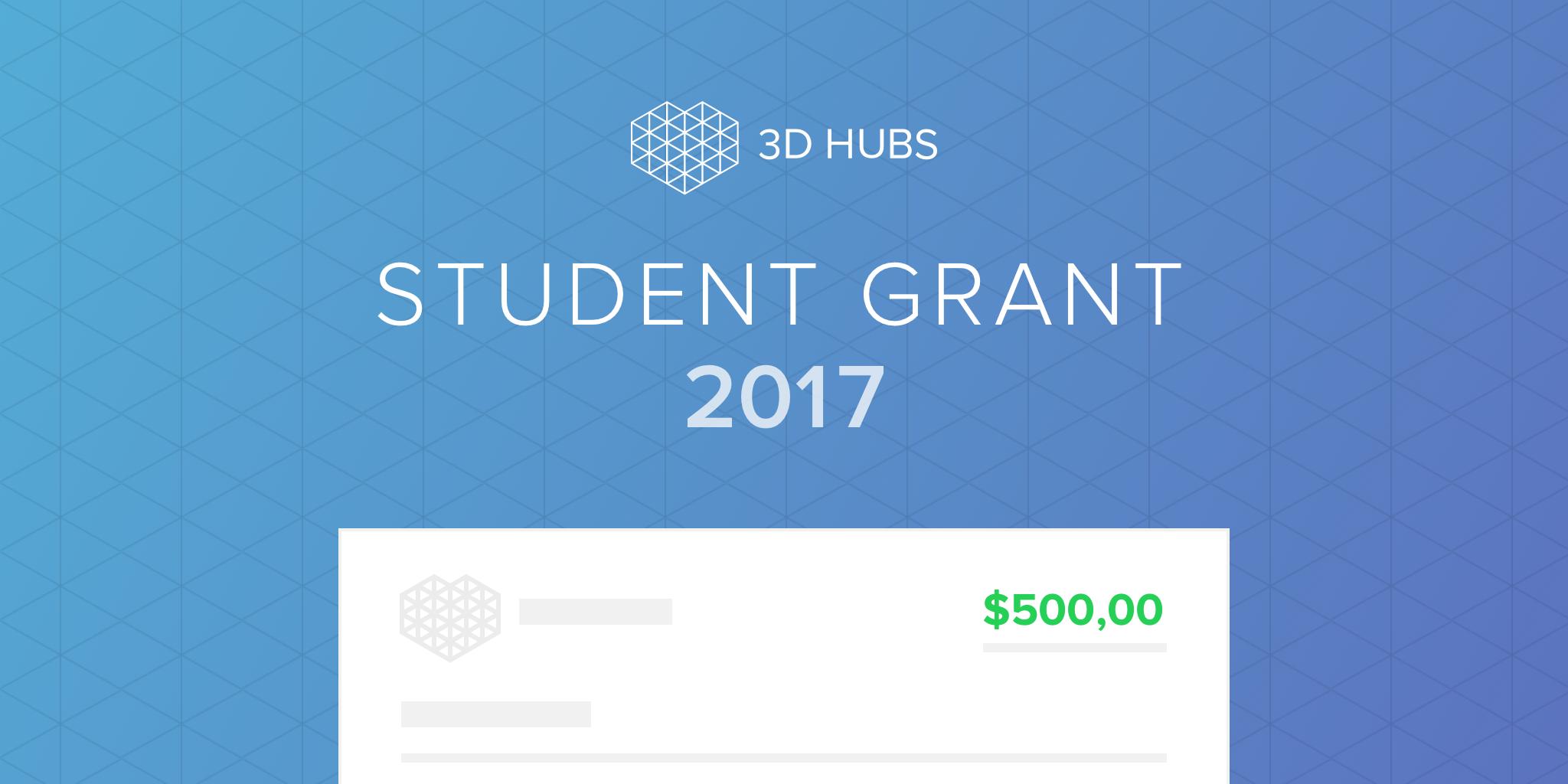The 3D Hubs student grant. Image via 3D Hubs.