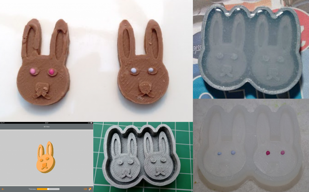 3D Printed Chocolate Bunnies. Photo by Tech Age Kids.