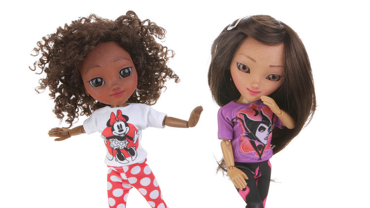 Makies dolls in Disney apparel. Photo via MakieLab