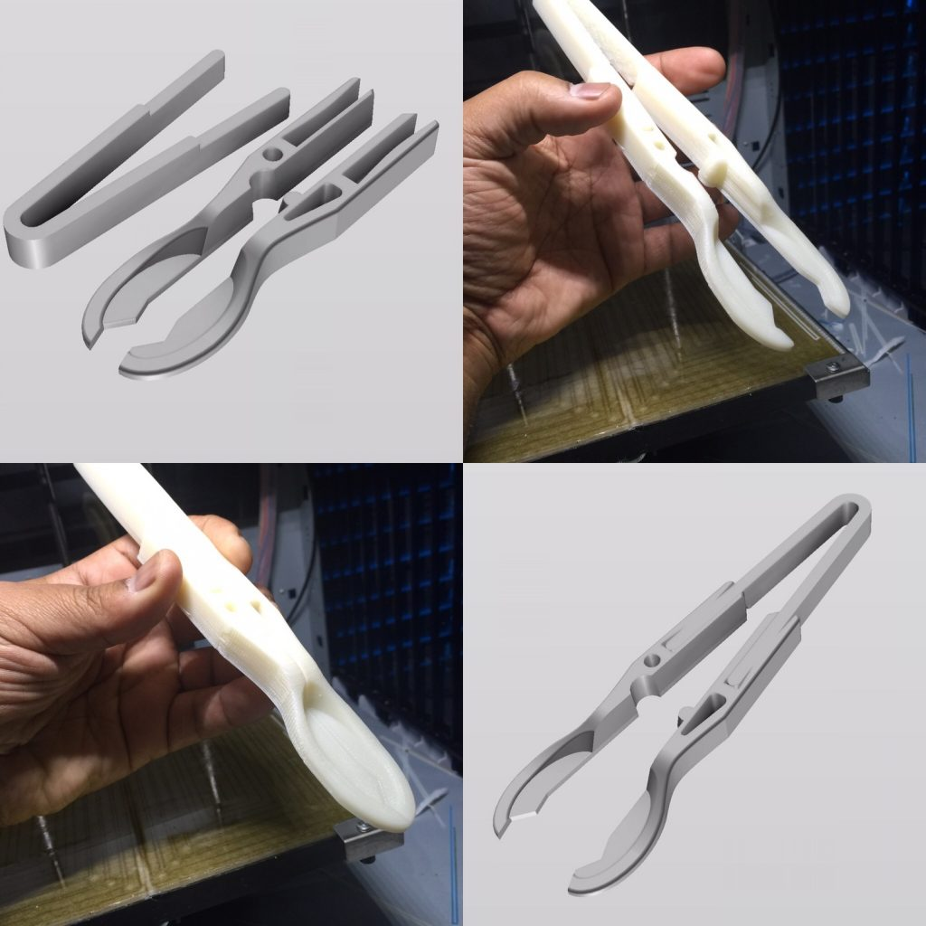 3D printed SpaceTongs for eating in space. Image via Mouser Electronics.