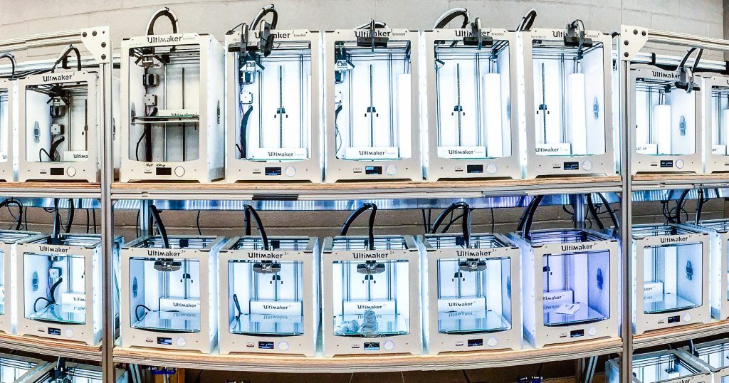 Ultimaker come out on top in Unit Revenues for Q1 2017. Photo shows a 3D printing lab at Duke University. Photo by Ultimaker.