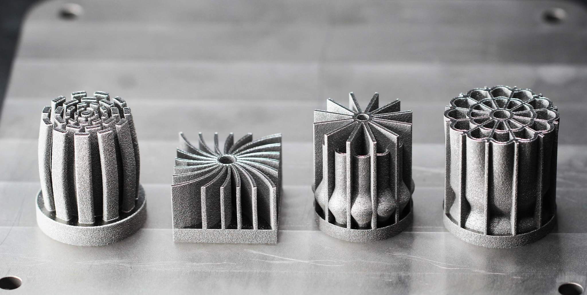3D printed metal heat sinks.