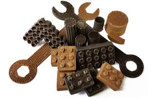 3D printed in Mars and Moon dust - tools and bricks from the Shah Lab at Northwestern University. Photo via Shah et al.