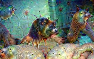 AI artwork by Google's Deep Dream project using neural networks.