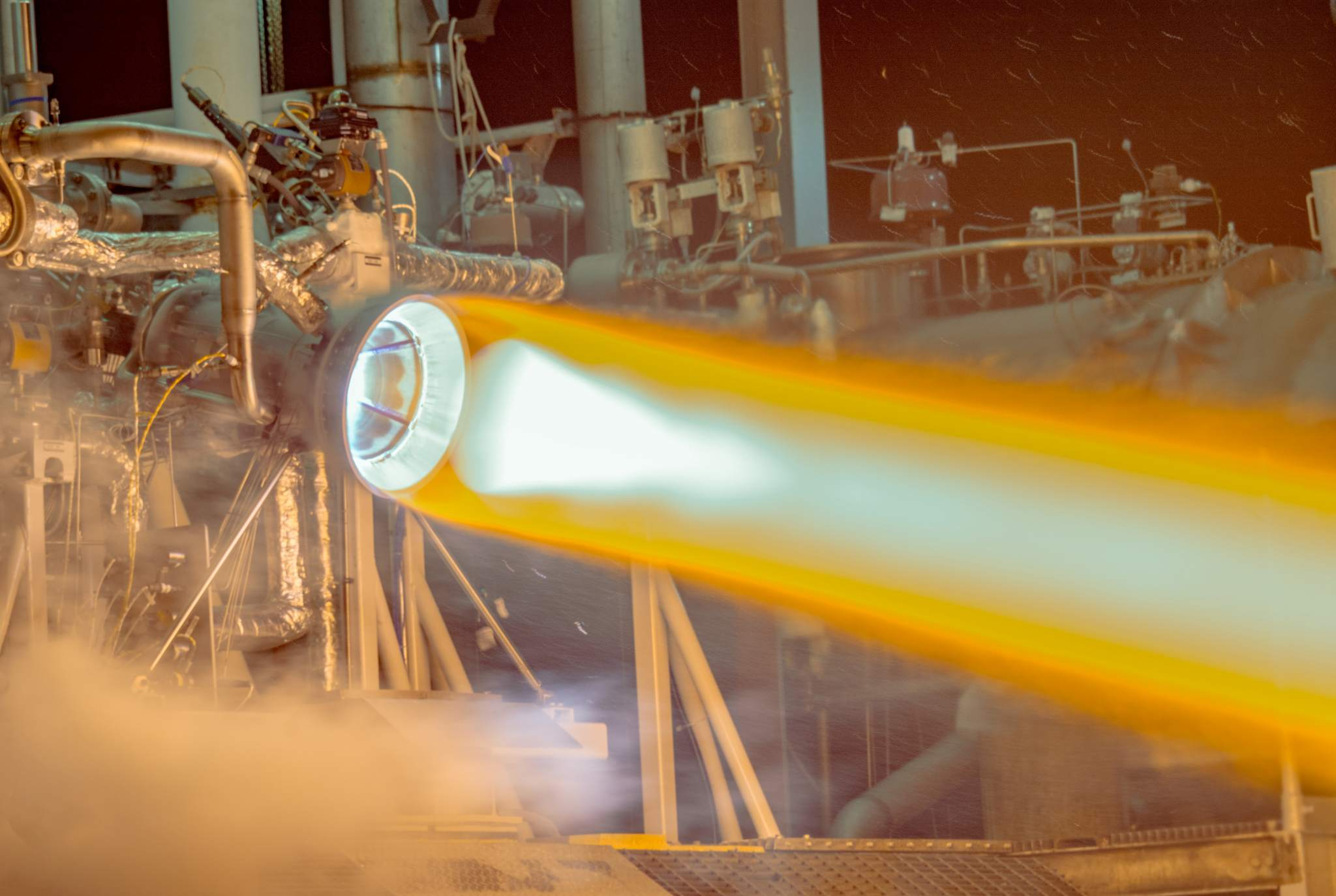 The RL10 rocket engine tested with 3D printed copper thrust chamber. Image via Aerojet Rocketdyne.