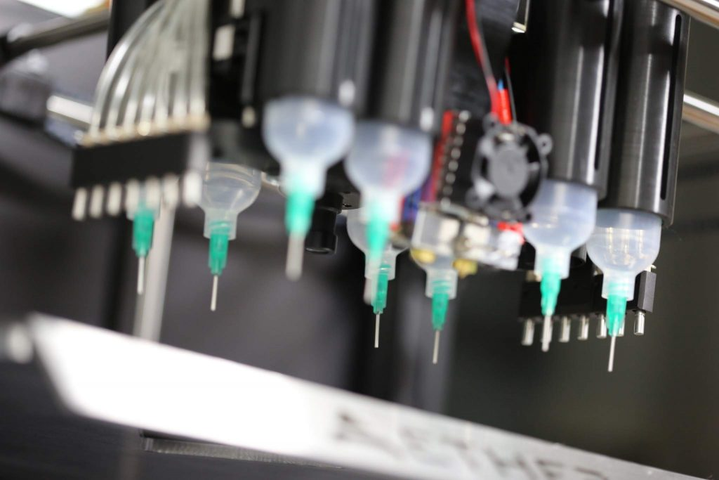 Aether 3D bioprinter syringes. Photo via Aether.