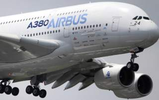 An Airbus a380 double-decker airline. Photo by Francois Mori, via Airnation.net