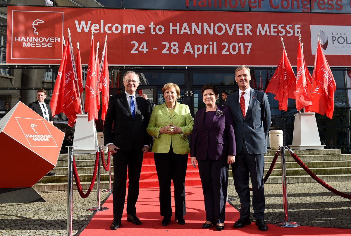 Angela Merkel at the Hannover Messe 2017 opening ceremony. Photo via Hannover Messe.
