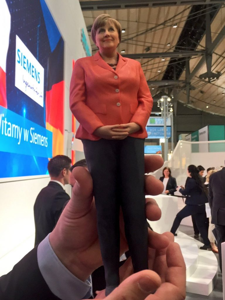 The miniature Angela Merkel by Siemens. Photo via Salomé Faria, @salome_faria, Comms at Siemens Portugal