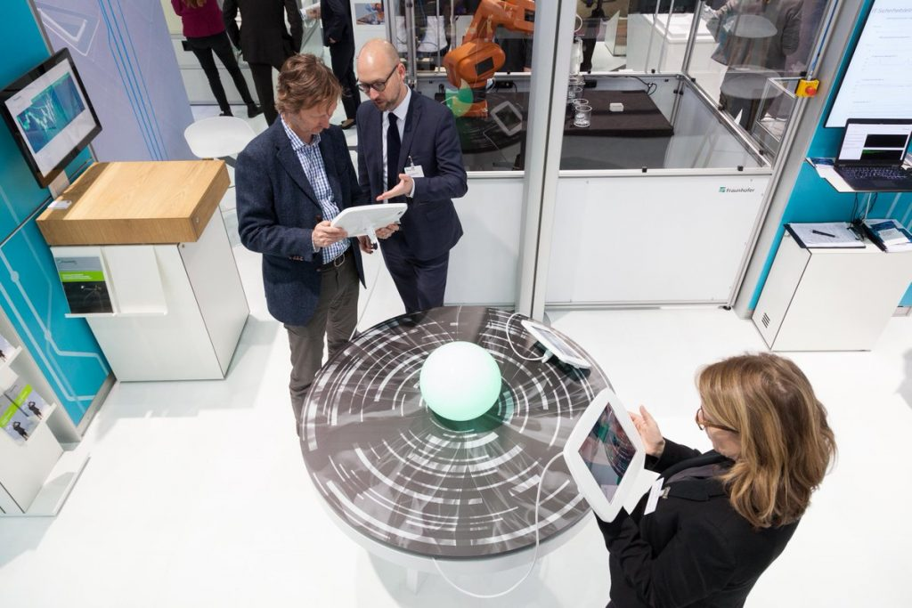 An AR 'crystal ball' with connected tablets for manufacturing inspection. Photo via Fraunhofer_INT on Twitter